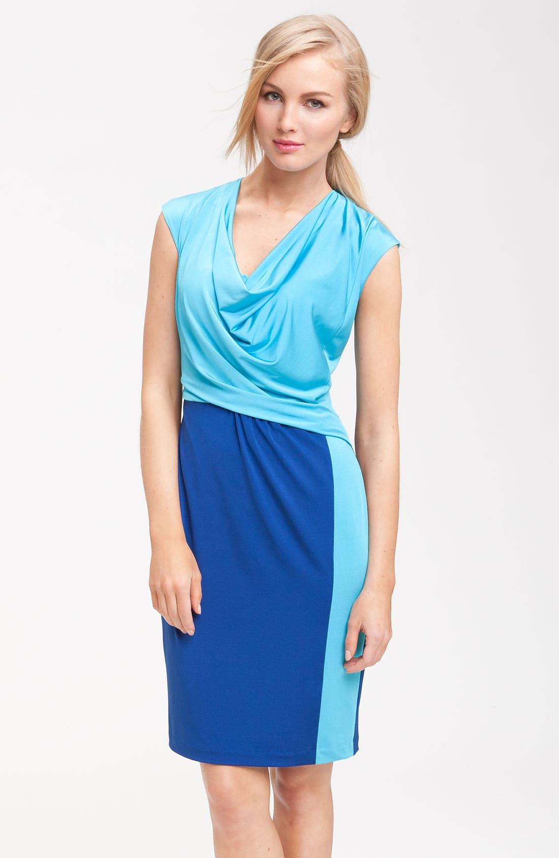 Main Image - Donna Ricco Colorblock Draped Dress (Petite)