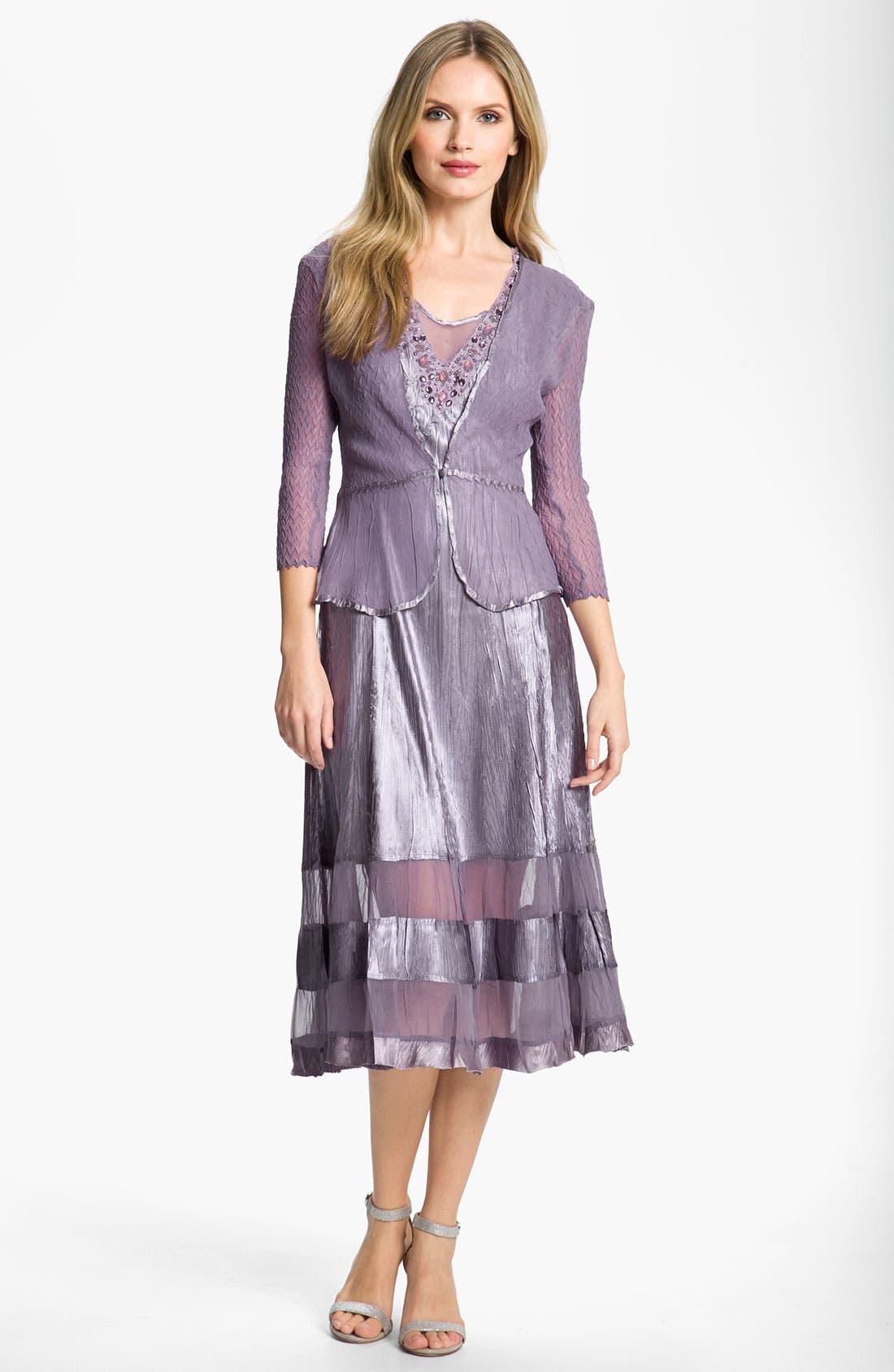 Alternate Image 1 Selected - Komarov Sheer Panel Charmeuse Dress & Chiffon Jacket