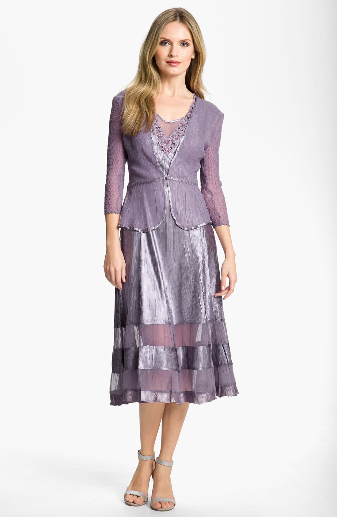 Main Image - Komarov Sheer Panel Charmeuse Dress & Chiffon Jacket