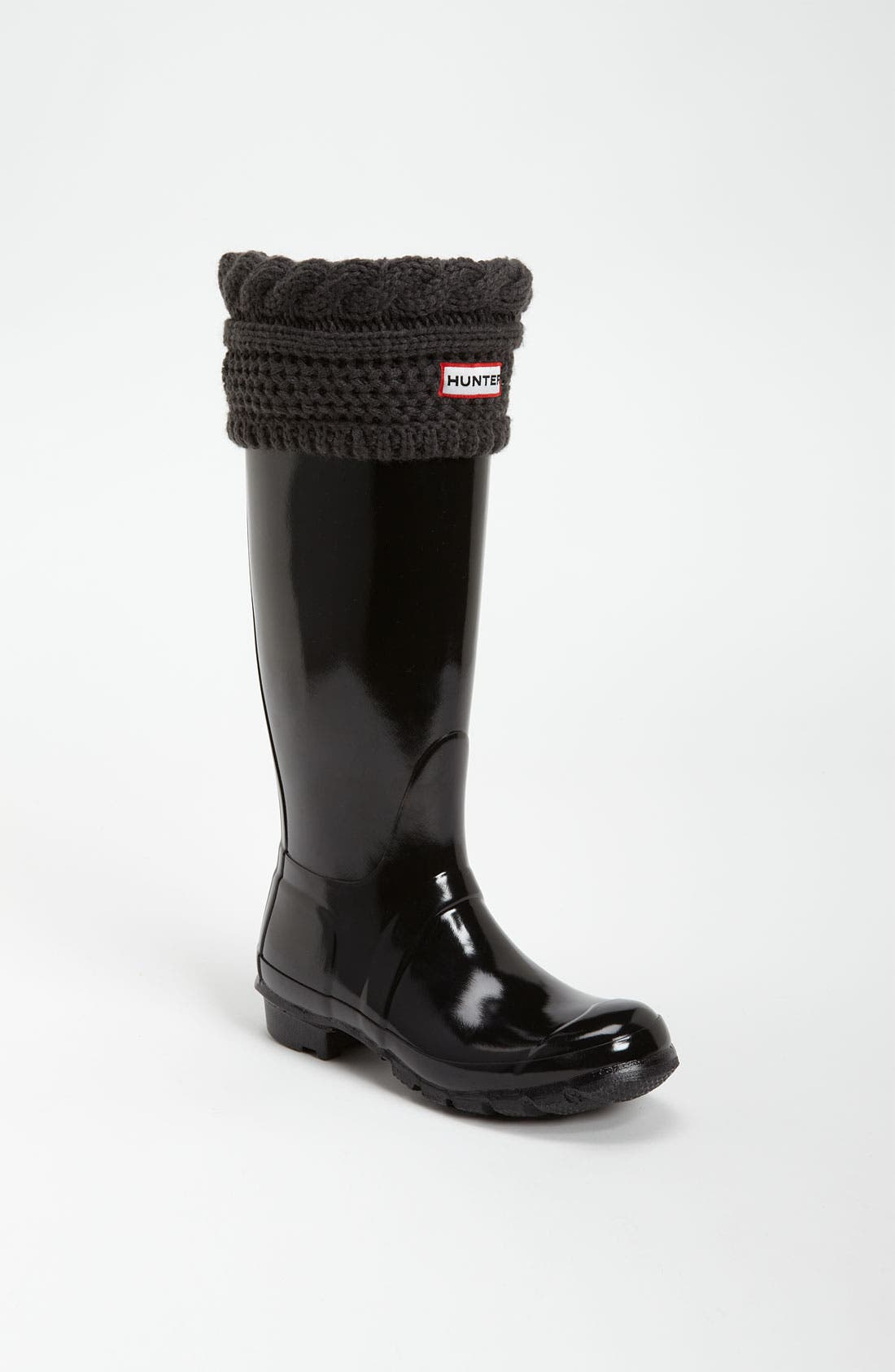 Main Image - Hunter Tall Gloss Rain Boot & Moss Cable Welly Socks