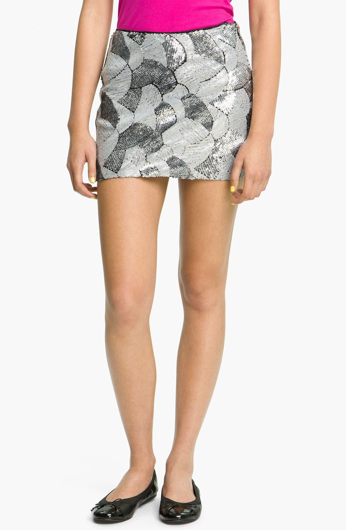 Main Image - Freehug Sequin Miniskirt (Juniors)
