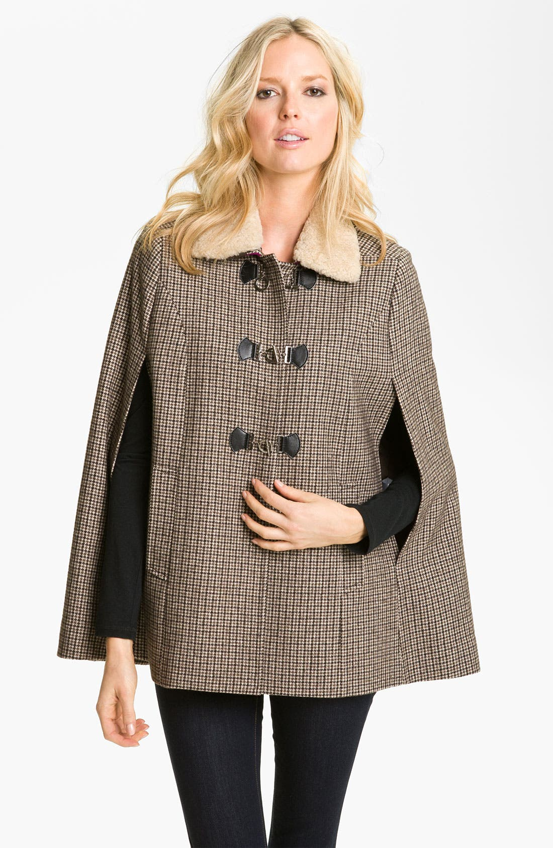 Alternate Image 1 Selected - Cole Haan Plaid Toggle Cape