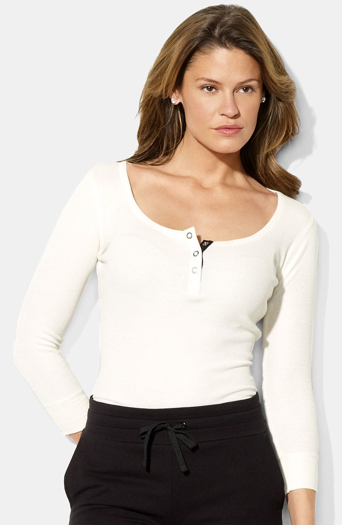 Alternate Image 1 Selected - Lauren Ralph Lauren Scoop Neck Henley Tee