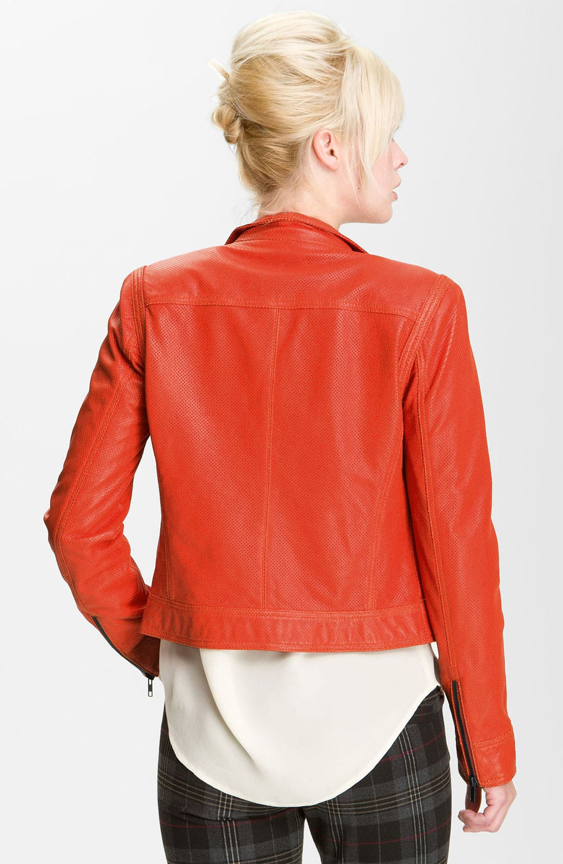 Alternate Image 2  - Truth and Pride Perforated Leather Biker Jacket