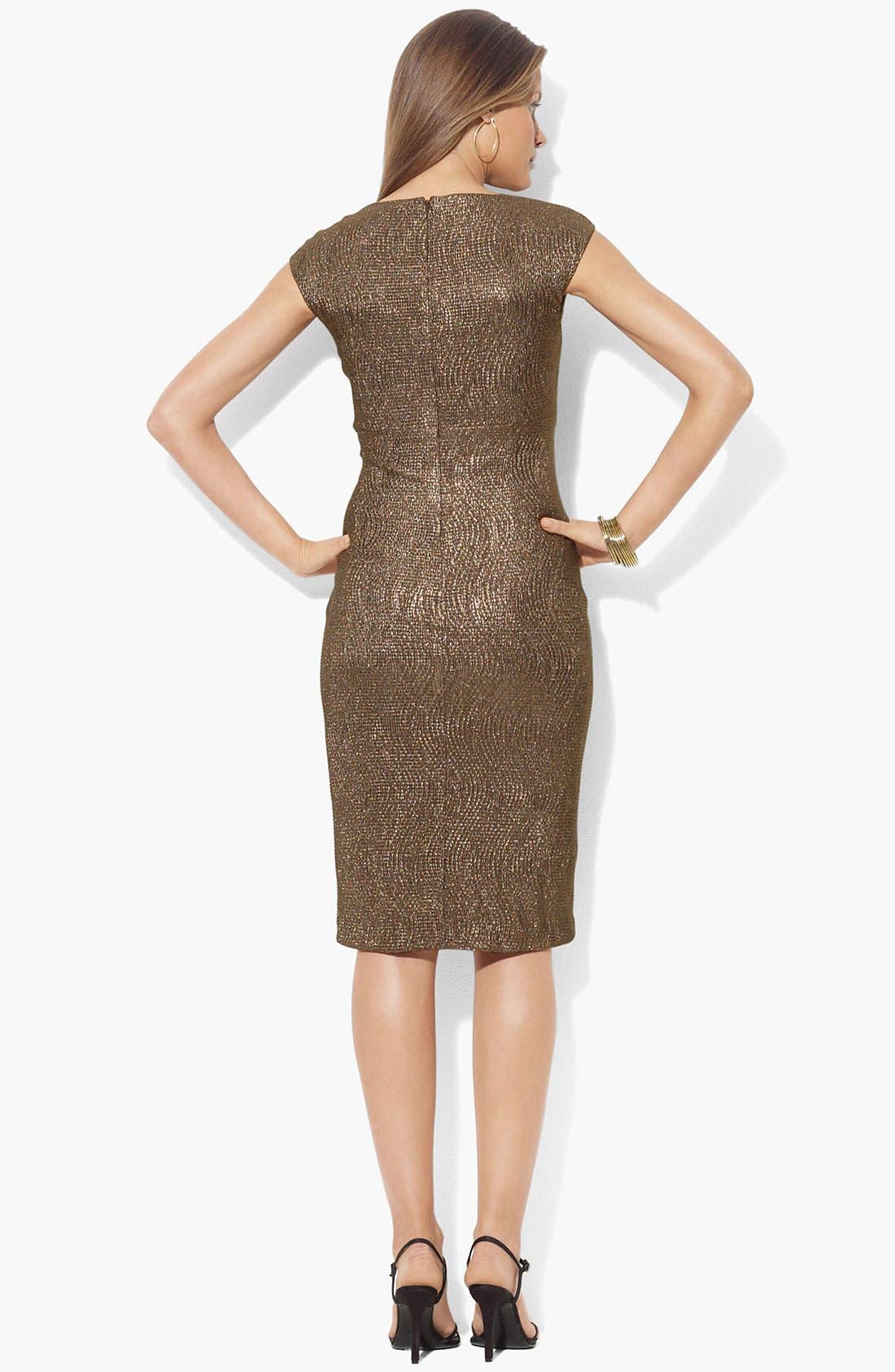 Alternate Image 2  - Lauren Ralph Lauren Metallic Surplice Sheath Dress