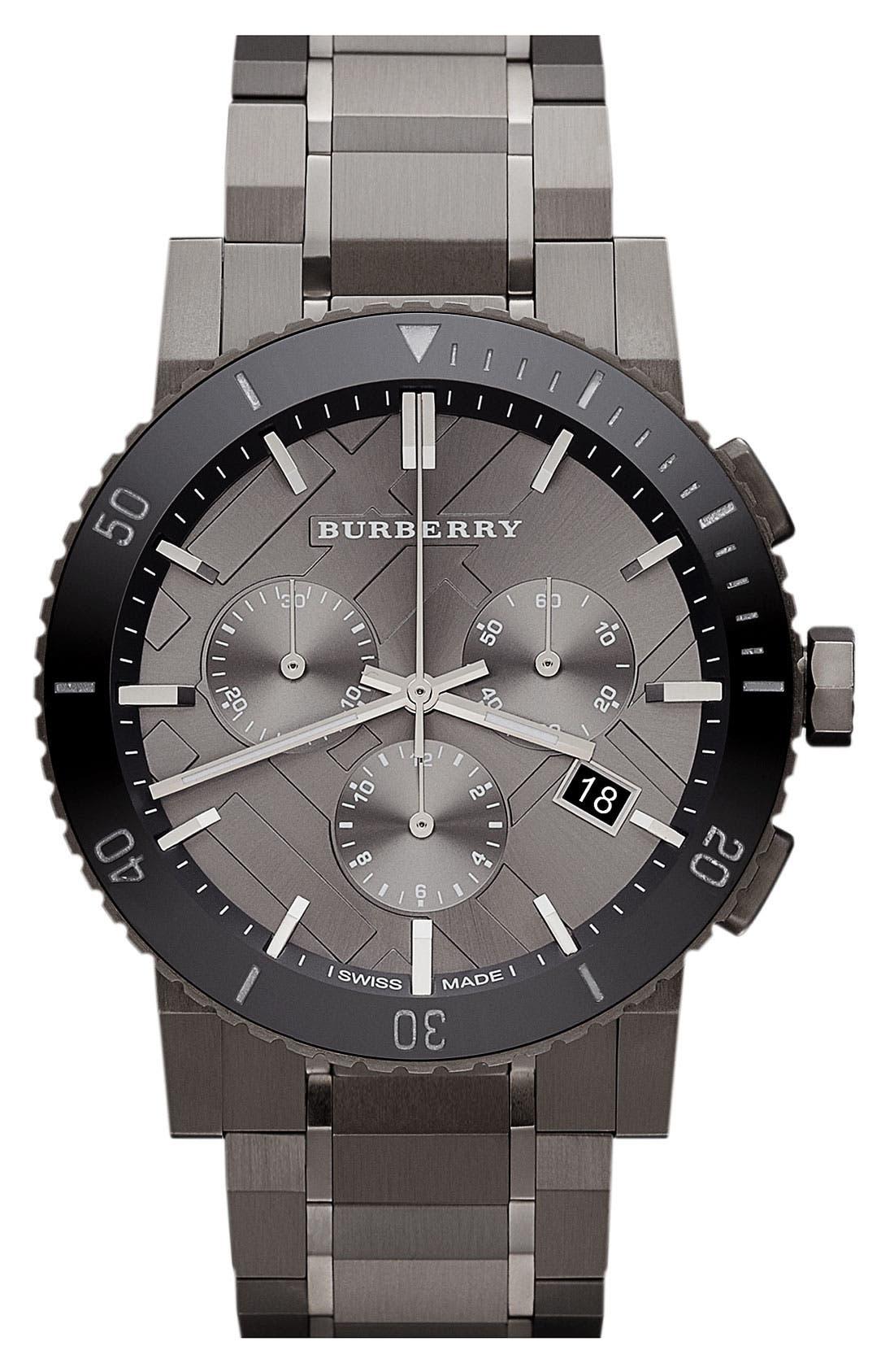 Alternate Image 1 Selected - Burberry Check Stamped Bracelet Watch, 42mm