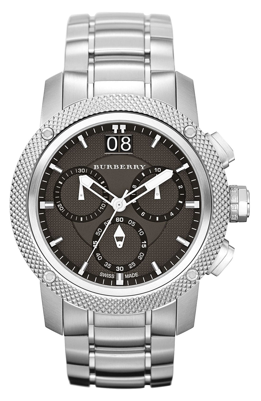 Main Image - Burberry Chronograph Bracelet Watch, 46mm