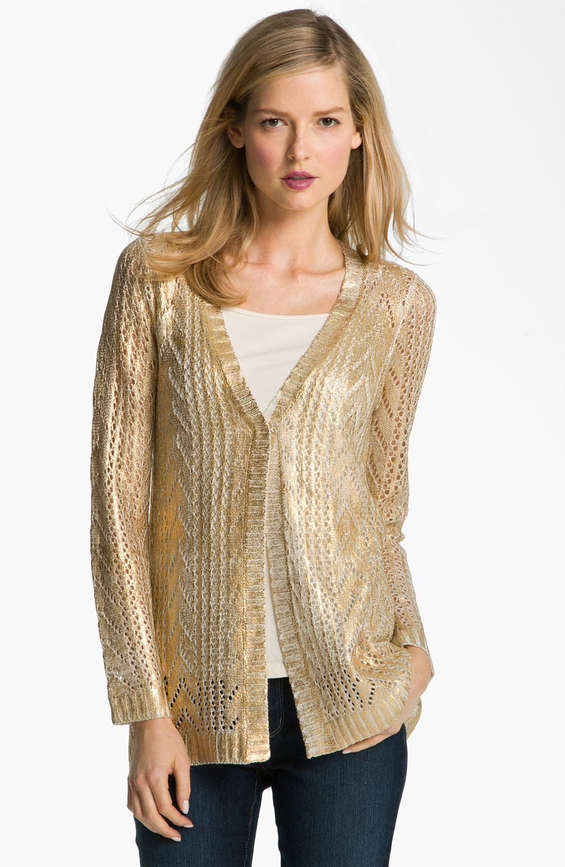 Main Image - Alberto Makali Open Stitch Metallic Cardigan