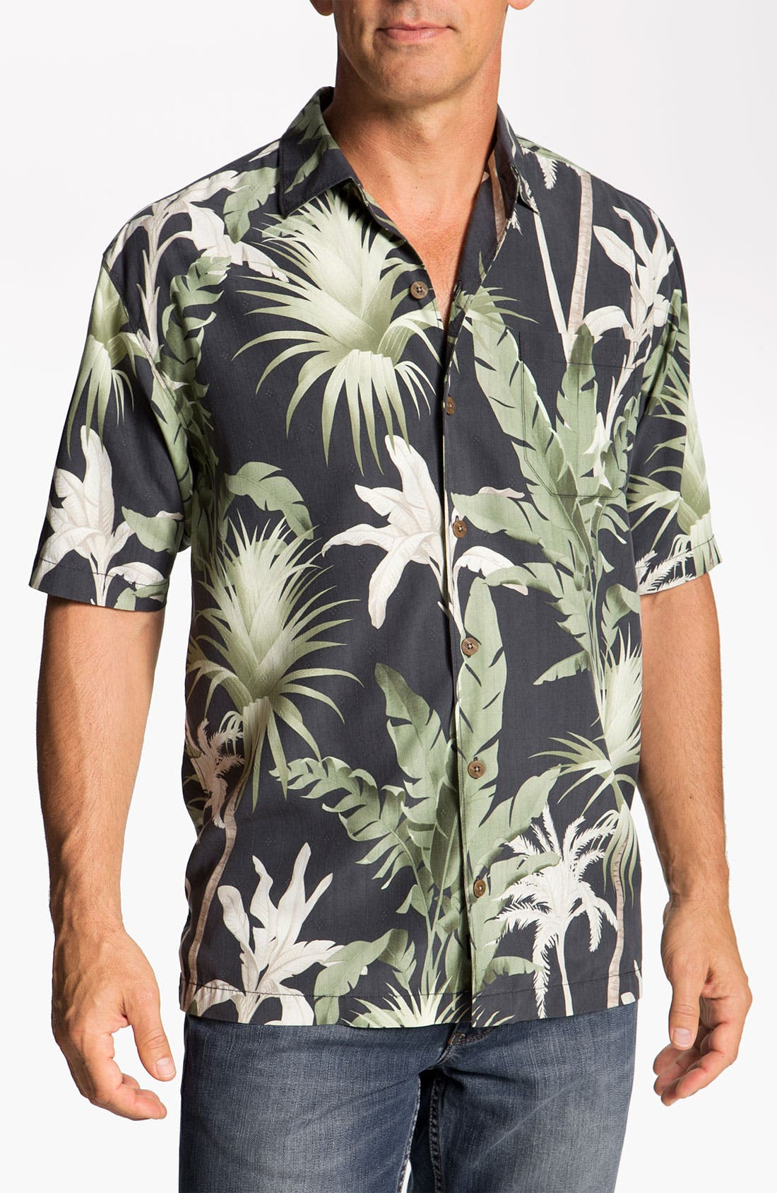 Alternate Image 1 Selected - Tommy Bahama 'Major Palm' Silk Campshirt