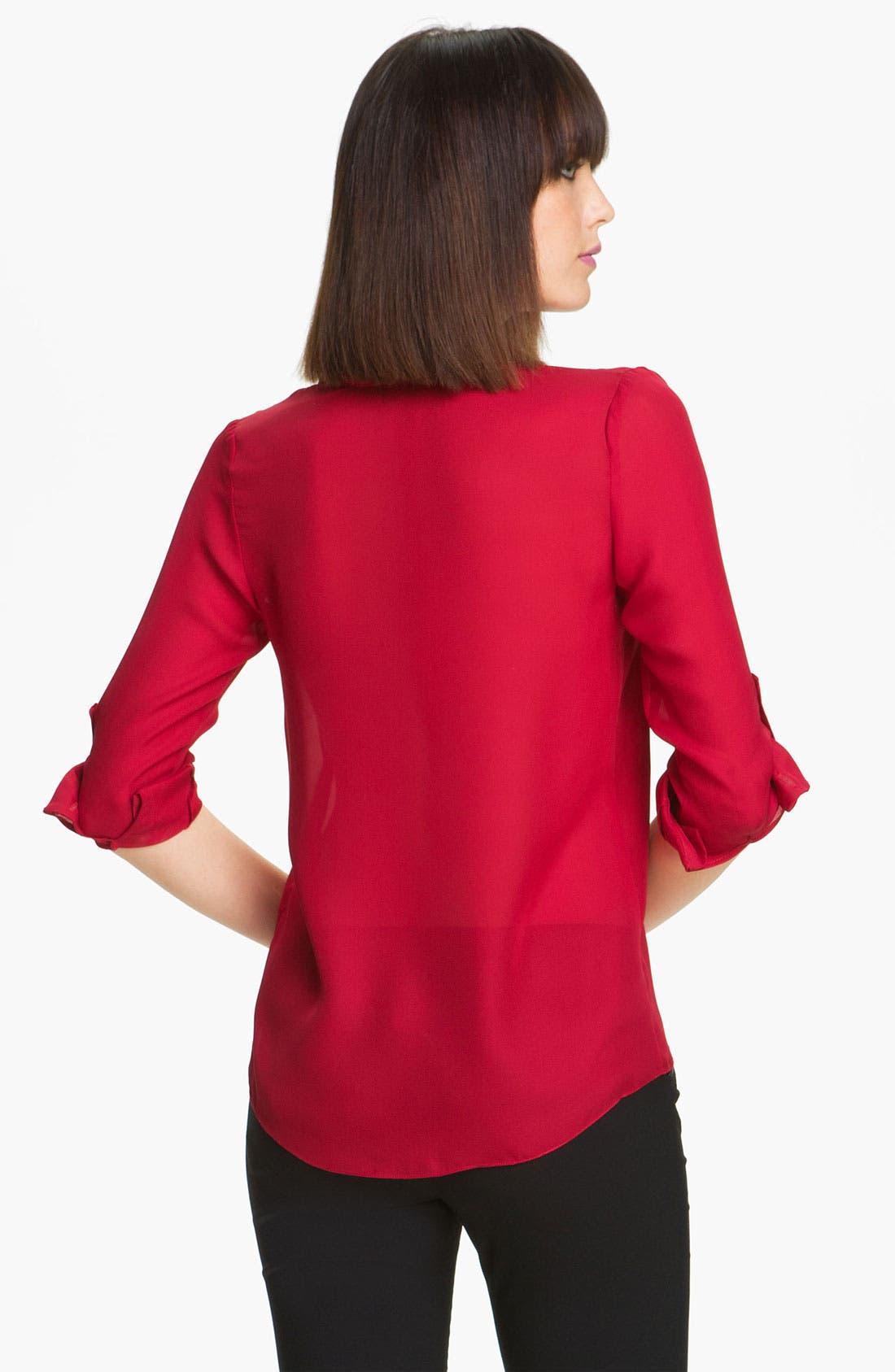 Alternate Image 2  - Alice + Olivia 'Thea' Stretch Silk Shirt