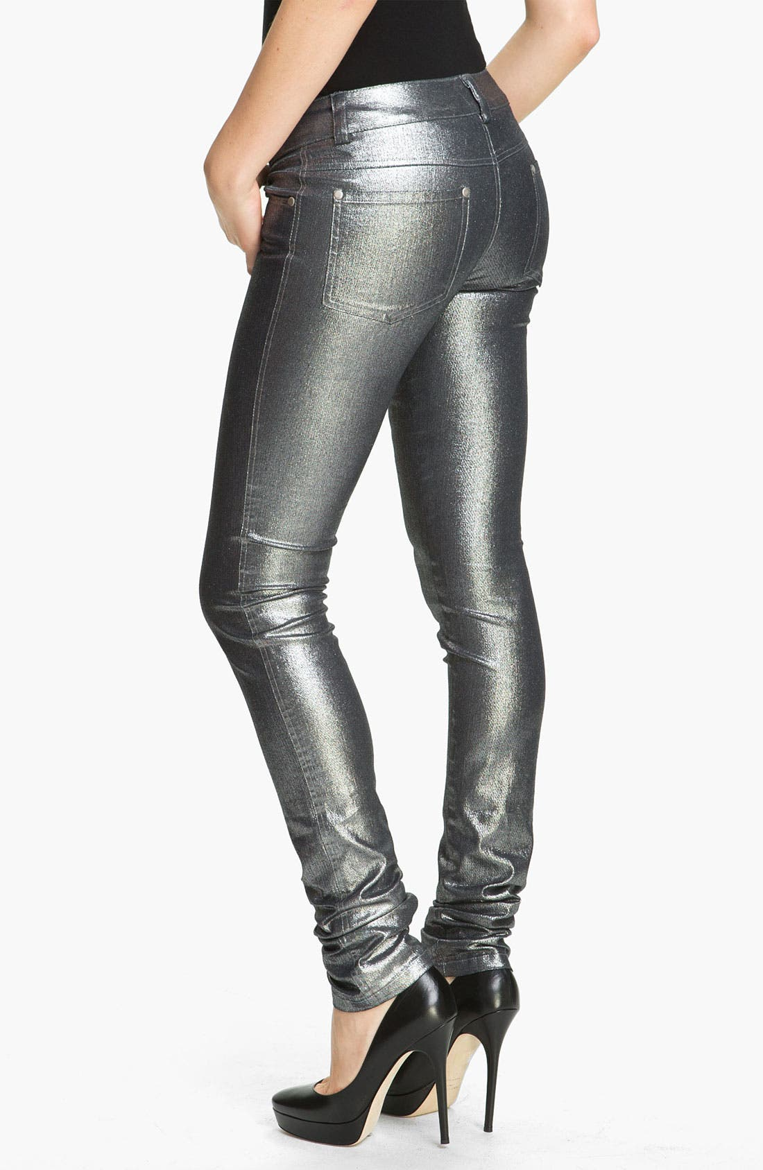 Alternate Image 1 Selected - Alice + Olivia Metallic Skinny Stretch Jeans