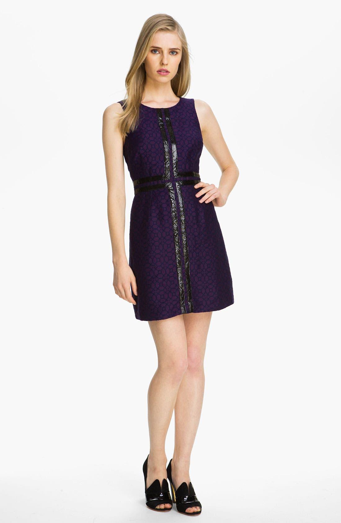 Main Image - Tracy Reese Leather Appliqué Bicolor Jacquard Dress