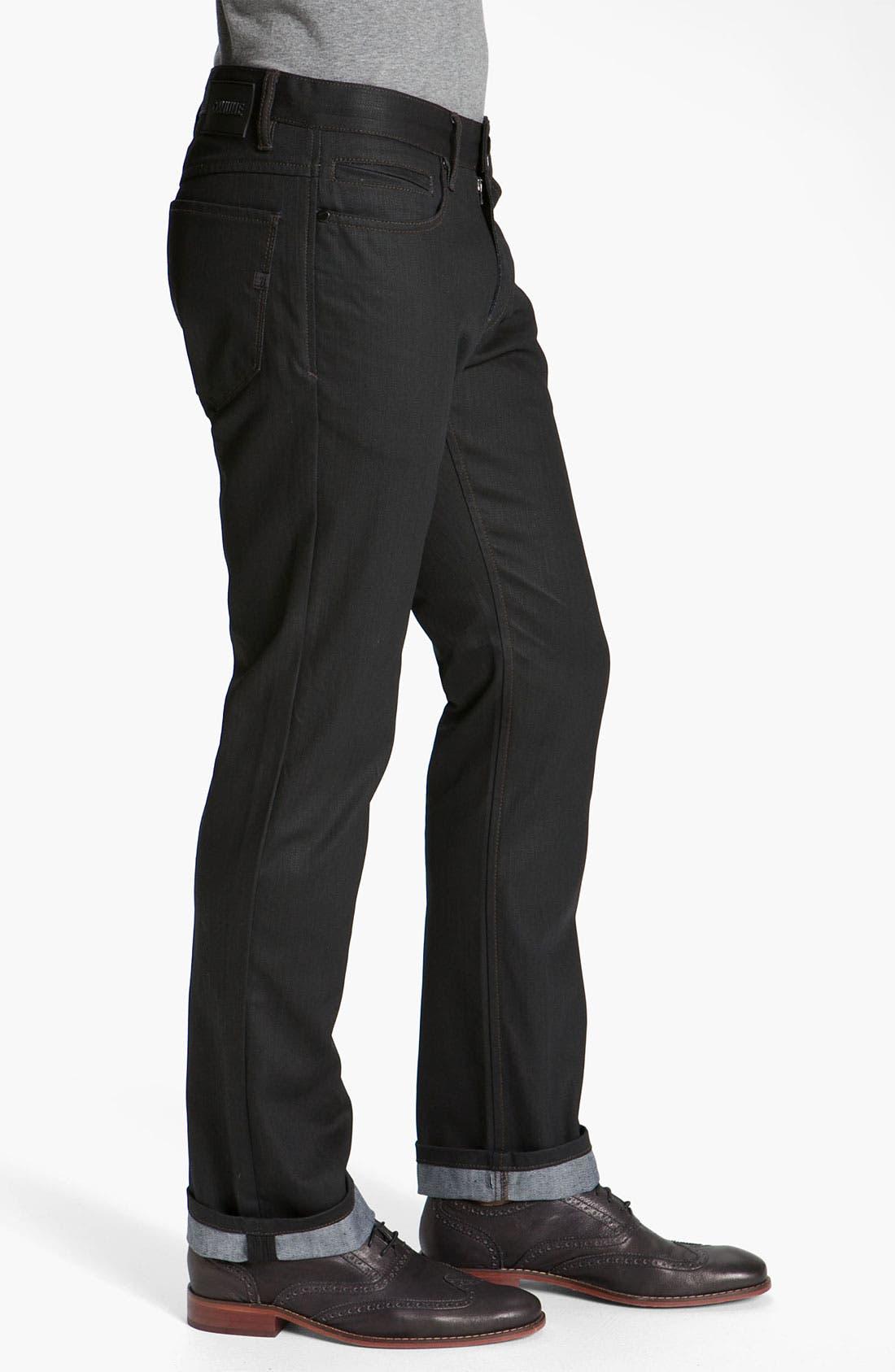 Alternate Image 3  - Comune 'Rudy' Coated Slim Straight Leg Jeans (Black Indigo)