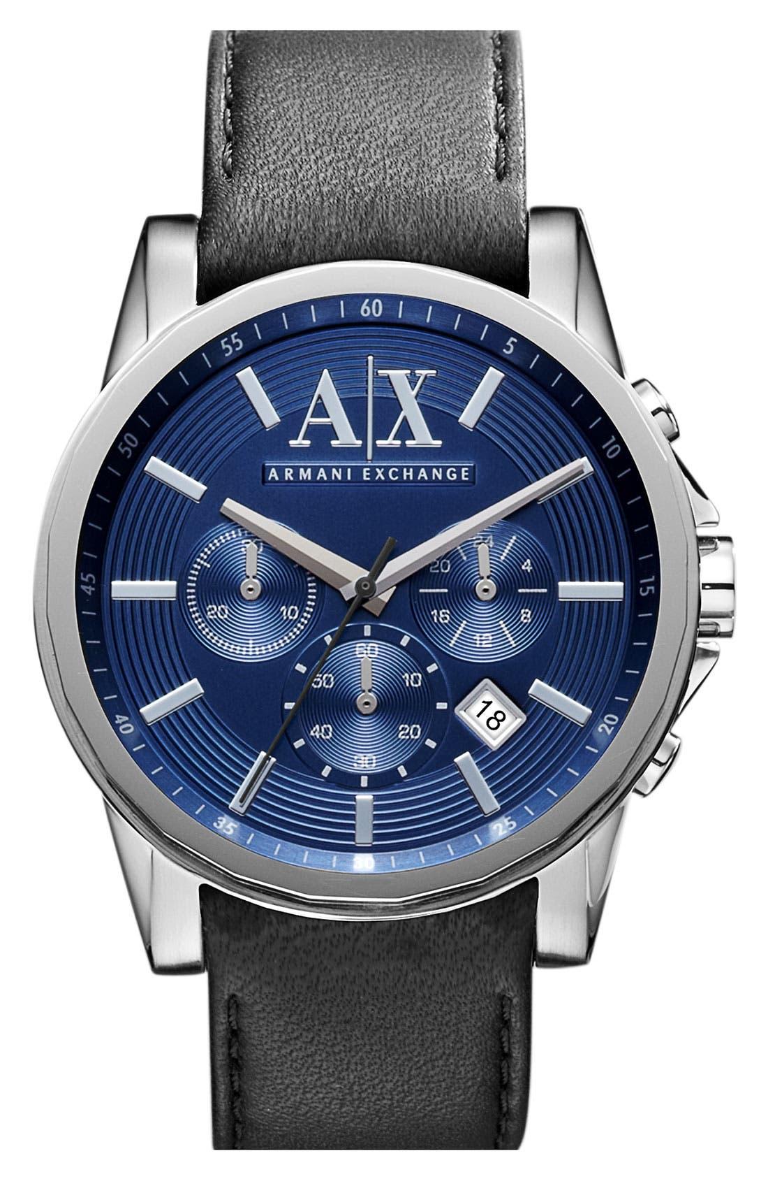Main Image - AX Armani Exchange Chronograph Leather Strap Watch, 45mm