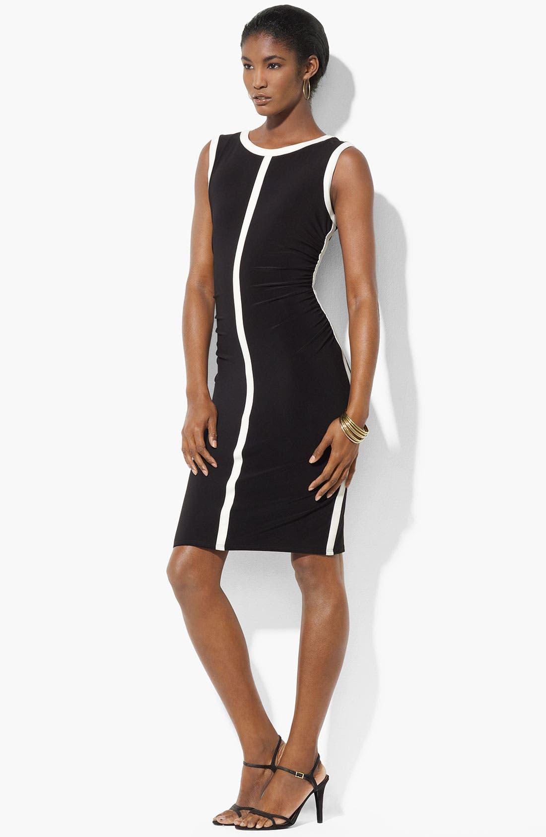 Main Image - Lauren Ralph Lauren Contrast Trim Jersey Sheath Dress