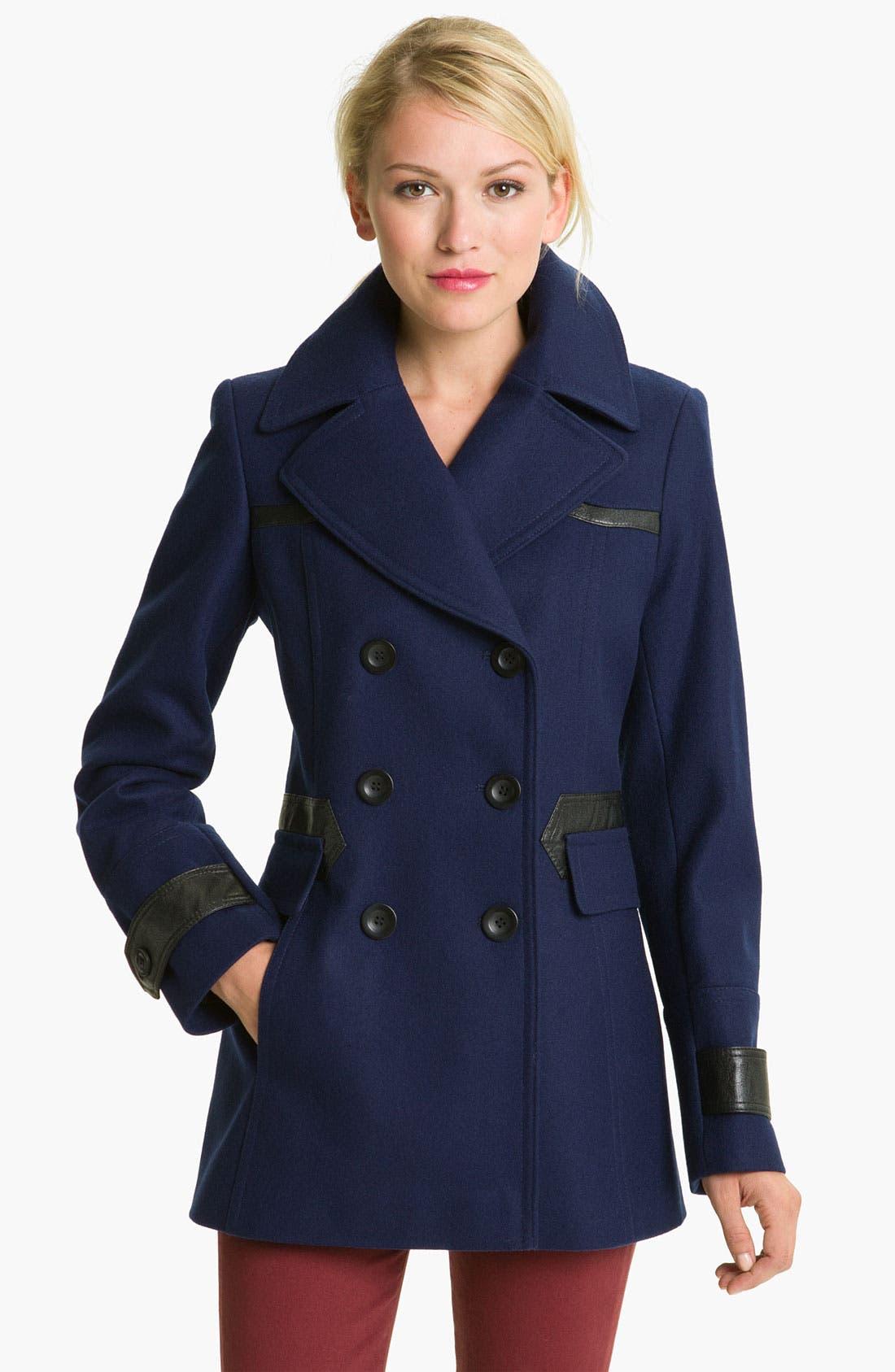 Alternate Image 1 Selected - Via Spiga 'Elena' Faux Leather Trim Wool Blend Coat
