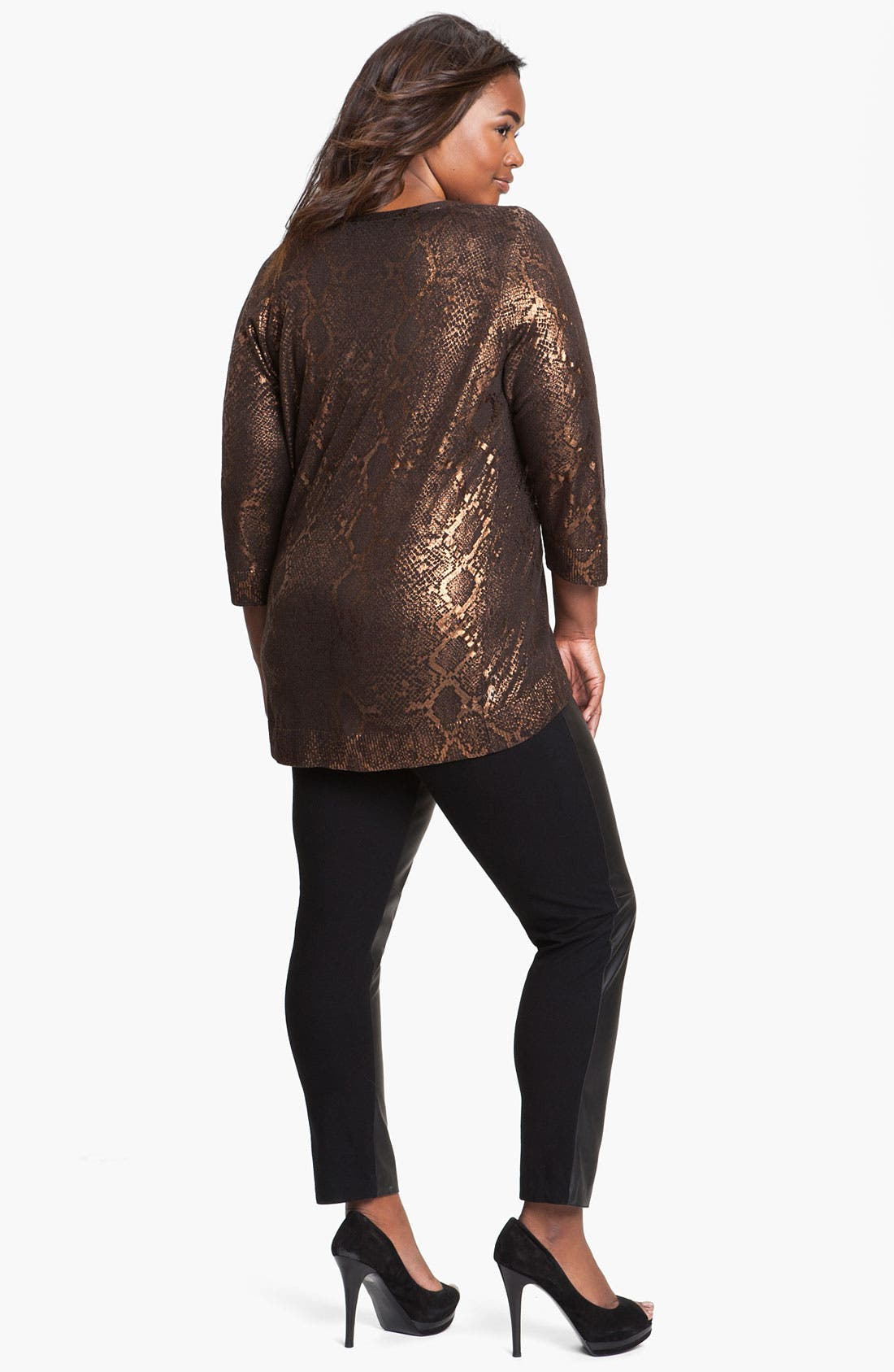 Alternate Image 5  - Two by Vince Camuto Faux Leather & Knit Leggings (Plus)