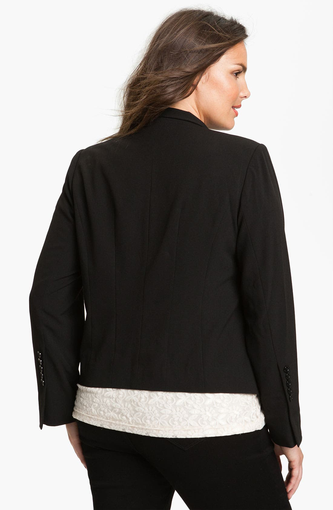 Alternate Image 2  - Eliza J Open Front Jacket (Plus)