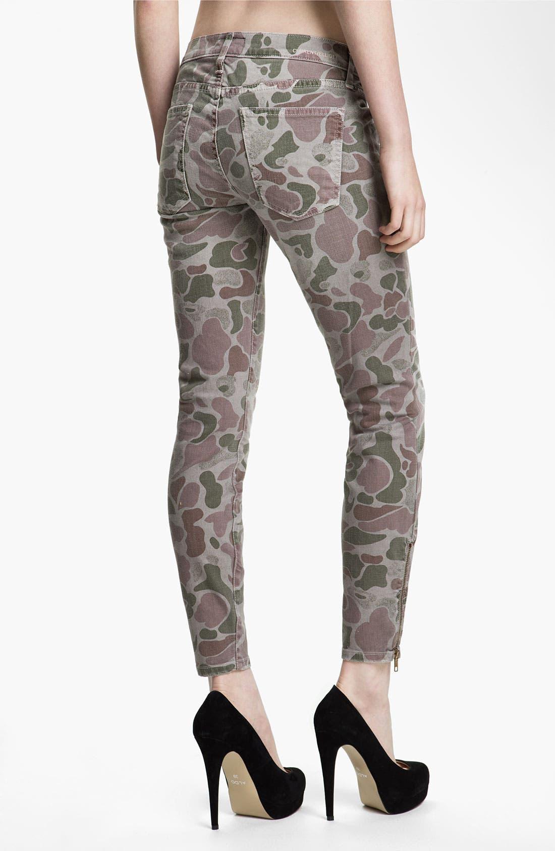 Alternate Image 2  - Current/Elliott Zip Skinny Jeans (Grey Camo)