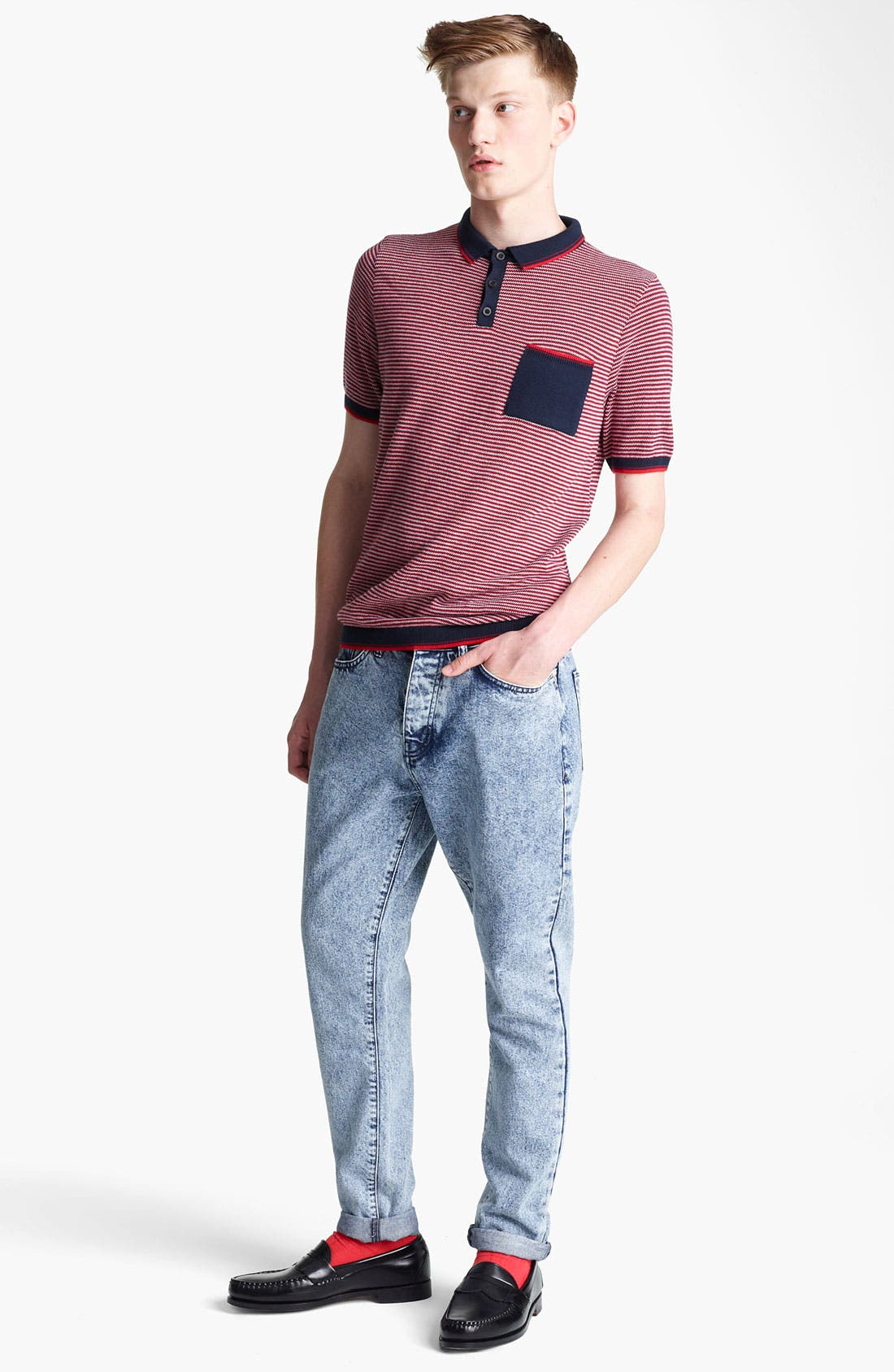 Alternate Image 4  - Topman Stripe Knit Polo