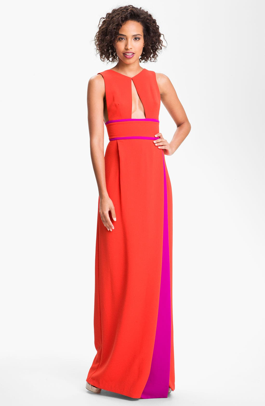 Alternate Image 1  - BCBGMAXAZRIA Colorblock Front Cutout Crepe Gown