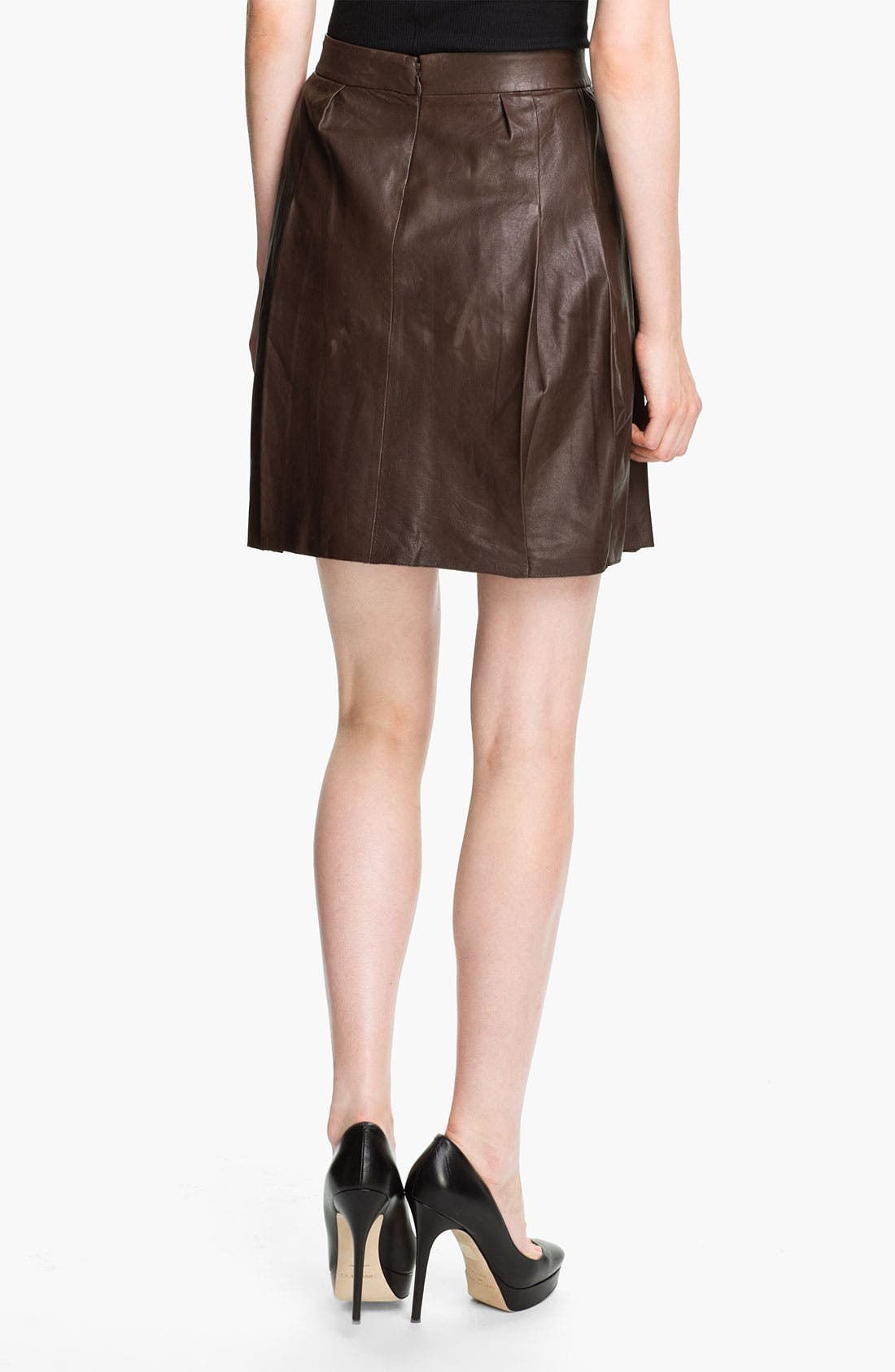 Alternate Image 2  - Vince Pleated Leather Skirt