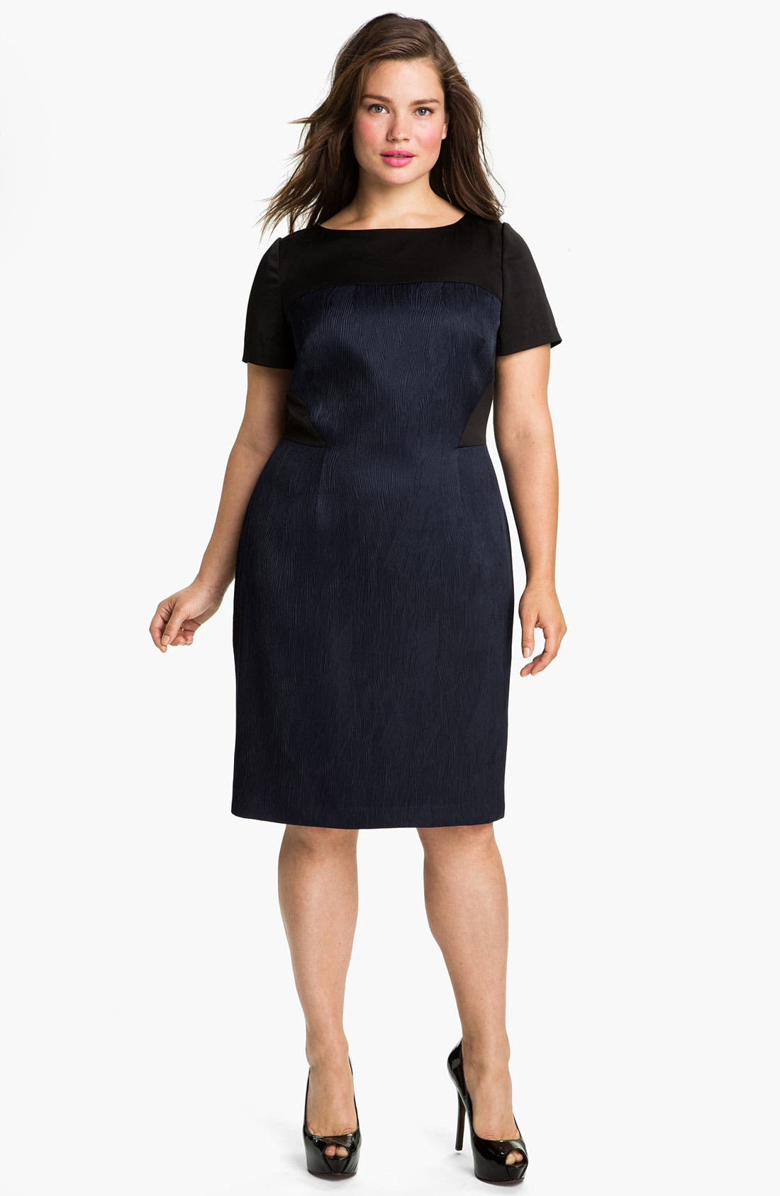 Main Image - Adrianna Papell Colorblock Bateau Neck Jacquard Sheath Dress (Plus)