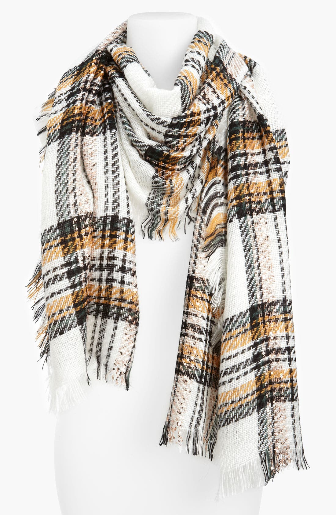 Alternate Image 1 Selected - Steve Madden 'Prep School Plaid' Sequined Scarf
