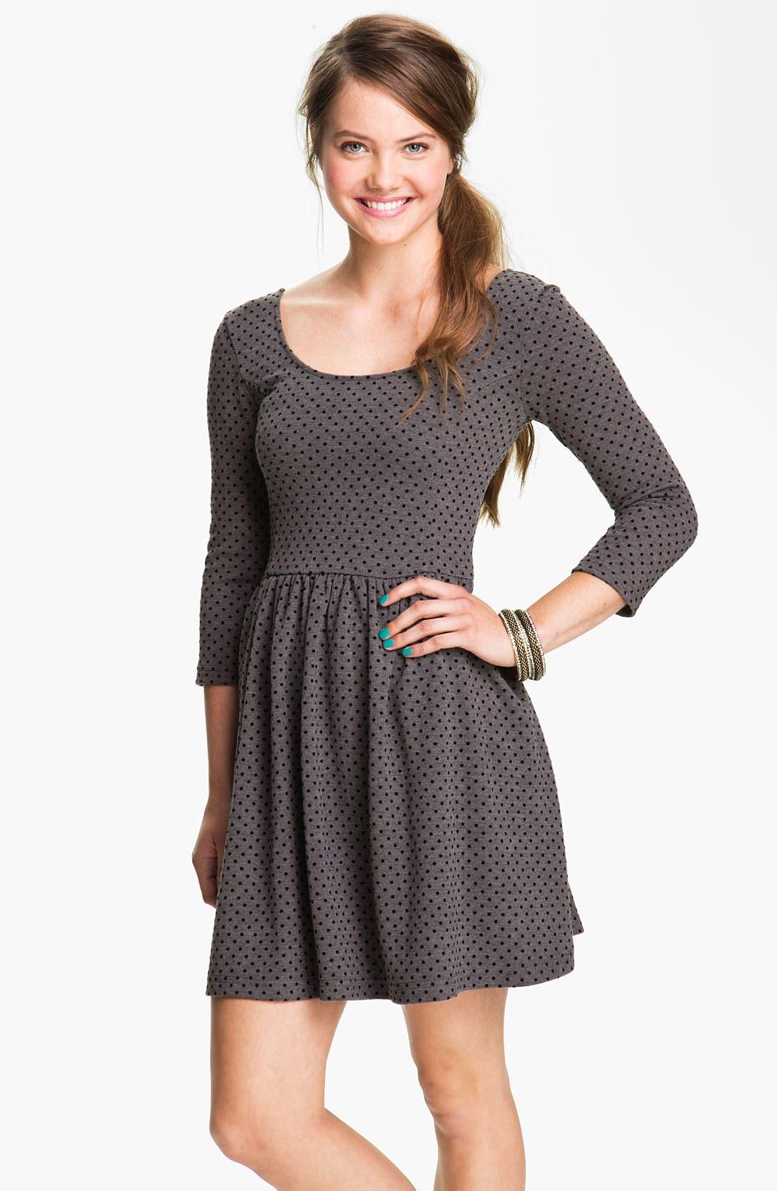 Alternate Image 1 Selected - Frenchi® Velvet Polka Dot Dress (Juniors)