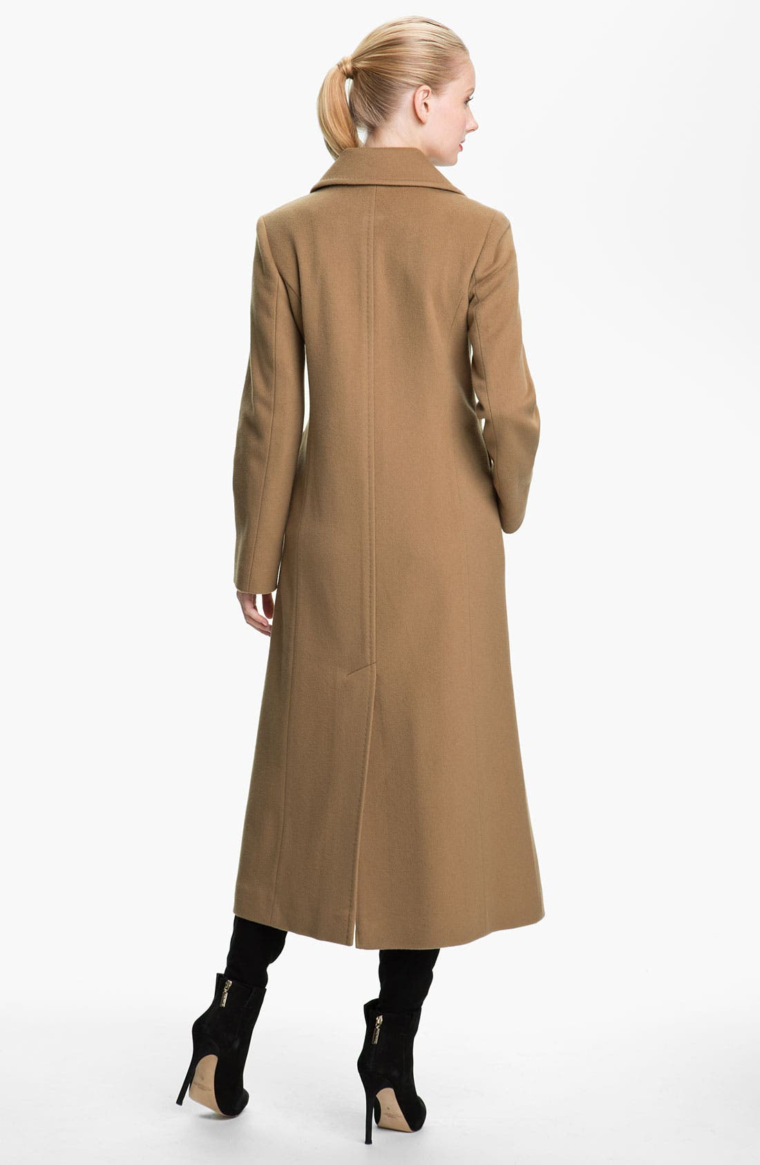 Alternate Image 2  - Fleurette Notch Collar Long Coat (Online Exclusive)