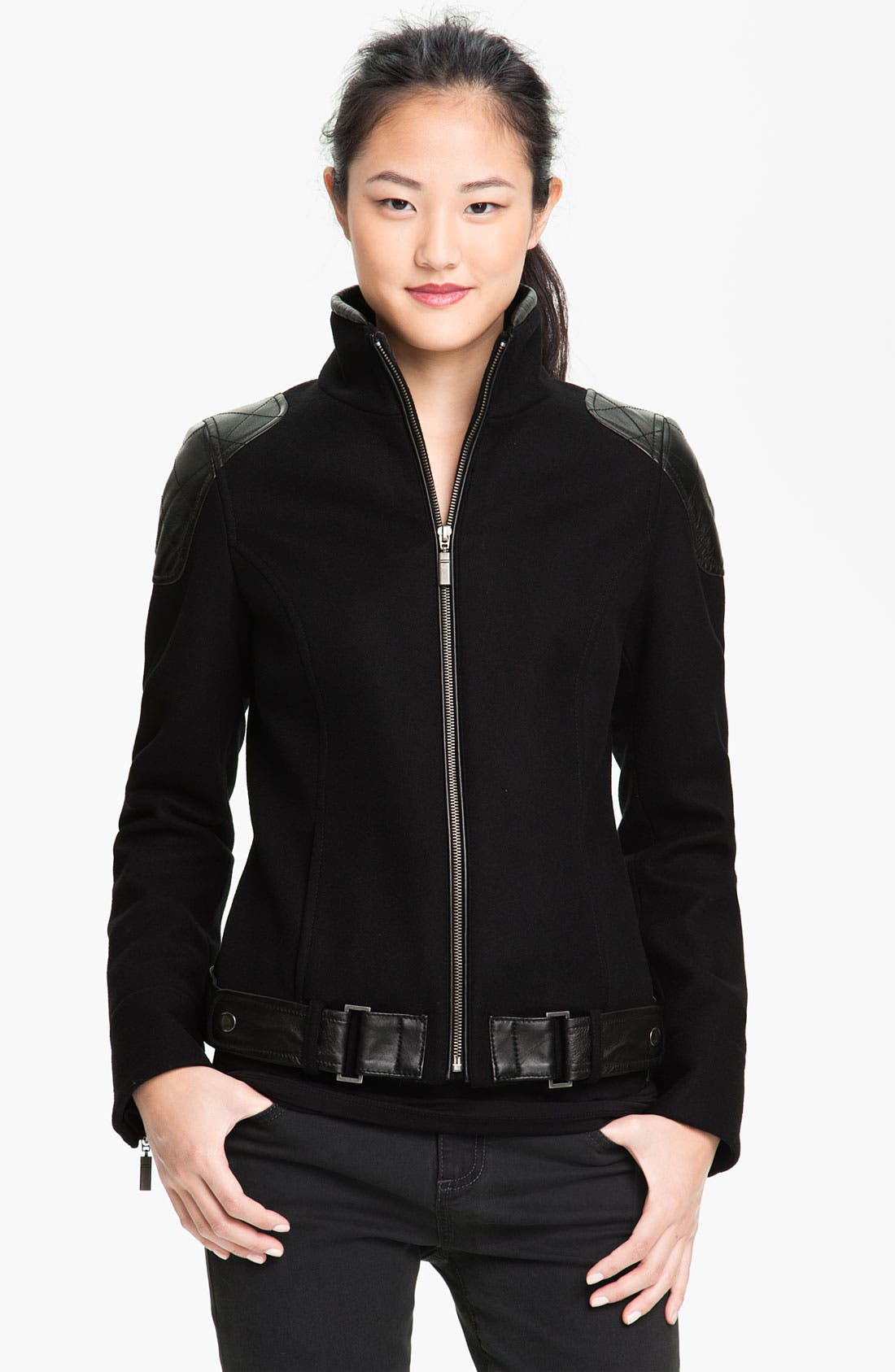 Alternate Image 1  - Trina Turk Leather Trim Moto Jacket