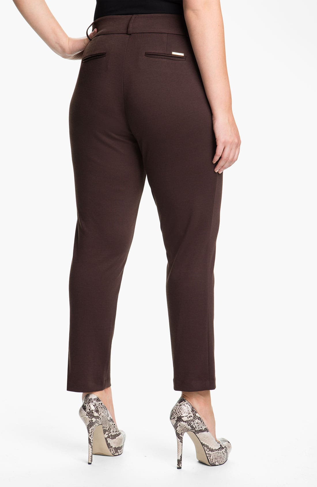 Alternate Image 2  - MICHAEL Michael Kors Ponte Knit Ankle Pants (Plus)