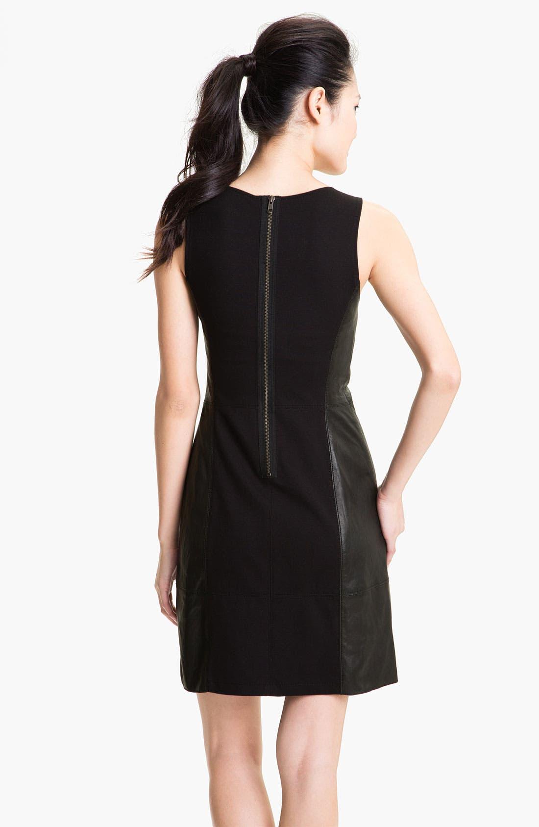 Alternate Image 2  - Halogen® Leather Front Sheath Dress