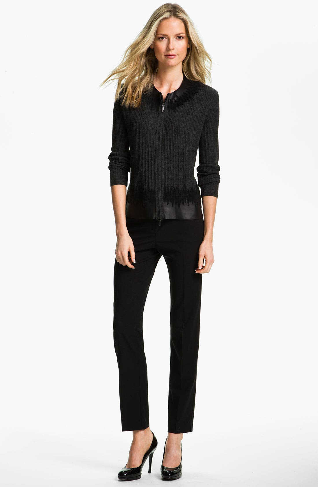 Alternate Image 4  - Lafayette 148 New York Leather Trim Cardigan