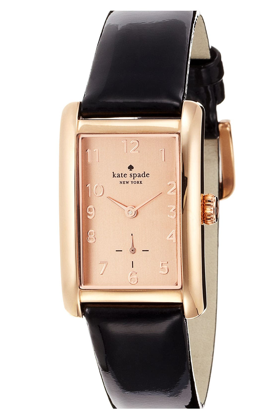 Alternate Image 1 Selected - kate spade new york 'cooper grand' rectangle leather strap watch