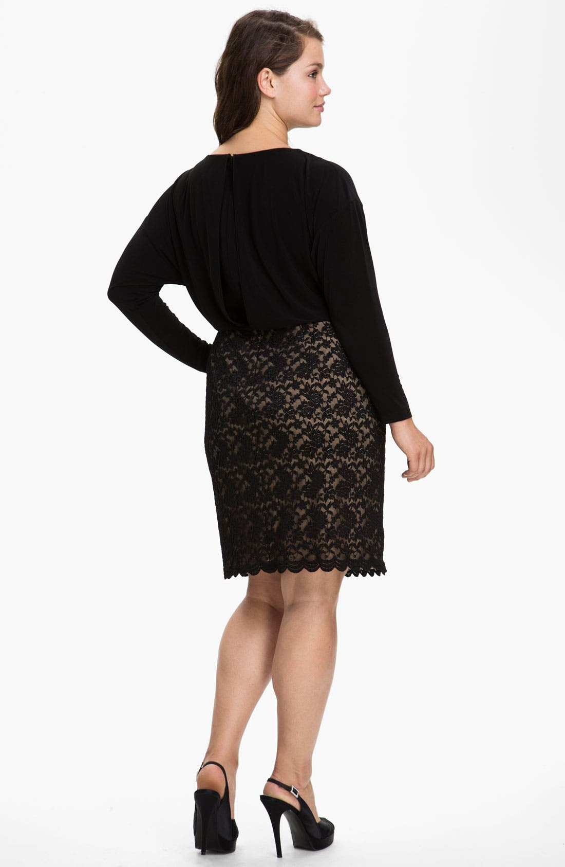 Alternate Image 2  - Adrianna Papell Lace Skirt Blouson Dress (Plus)