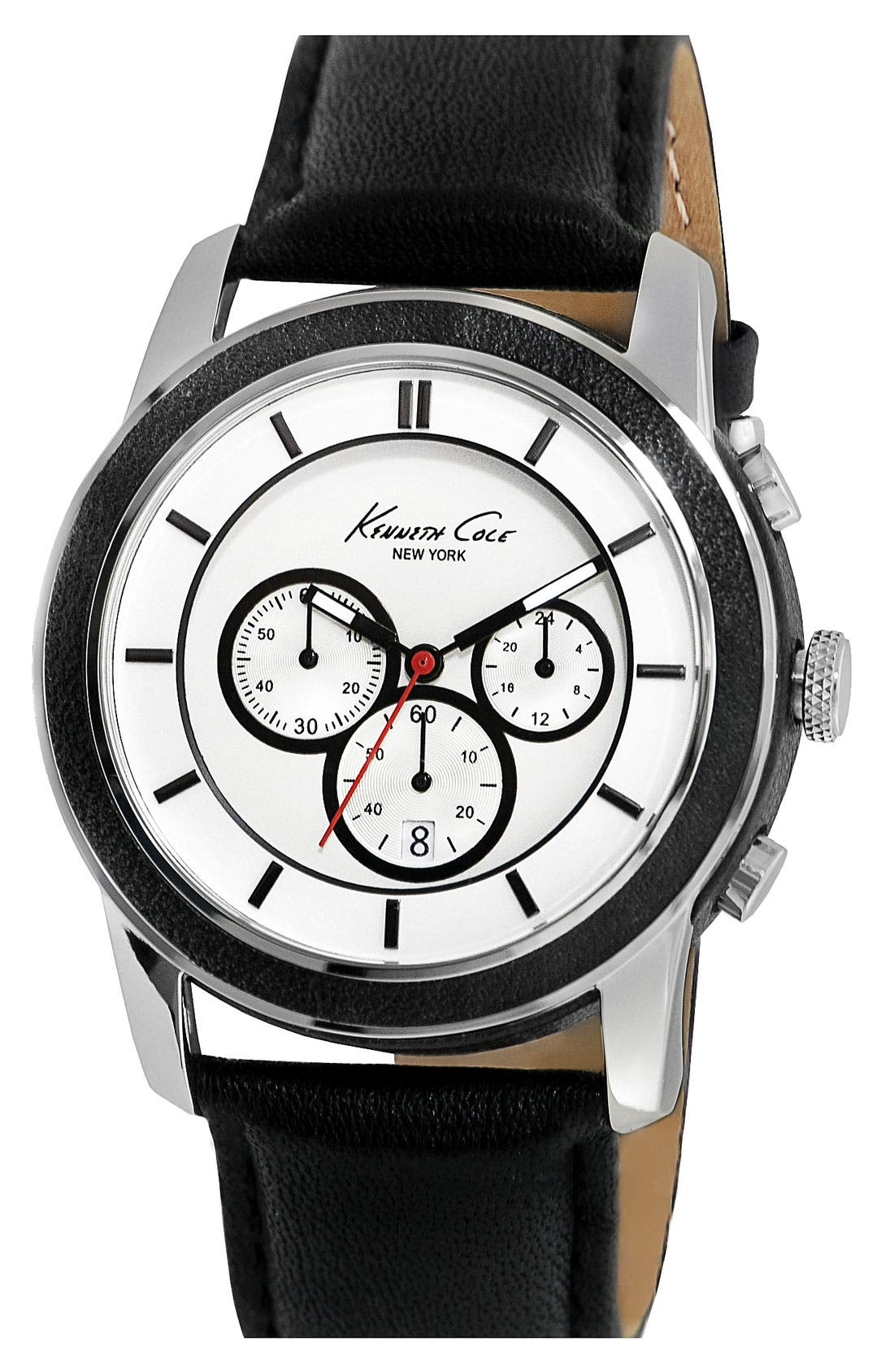 Alternate Image 1 Selected - Kenneth Cole New York Chronograph Leather Strap Watch