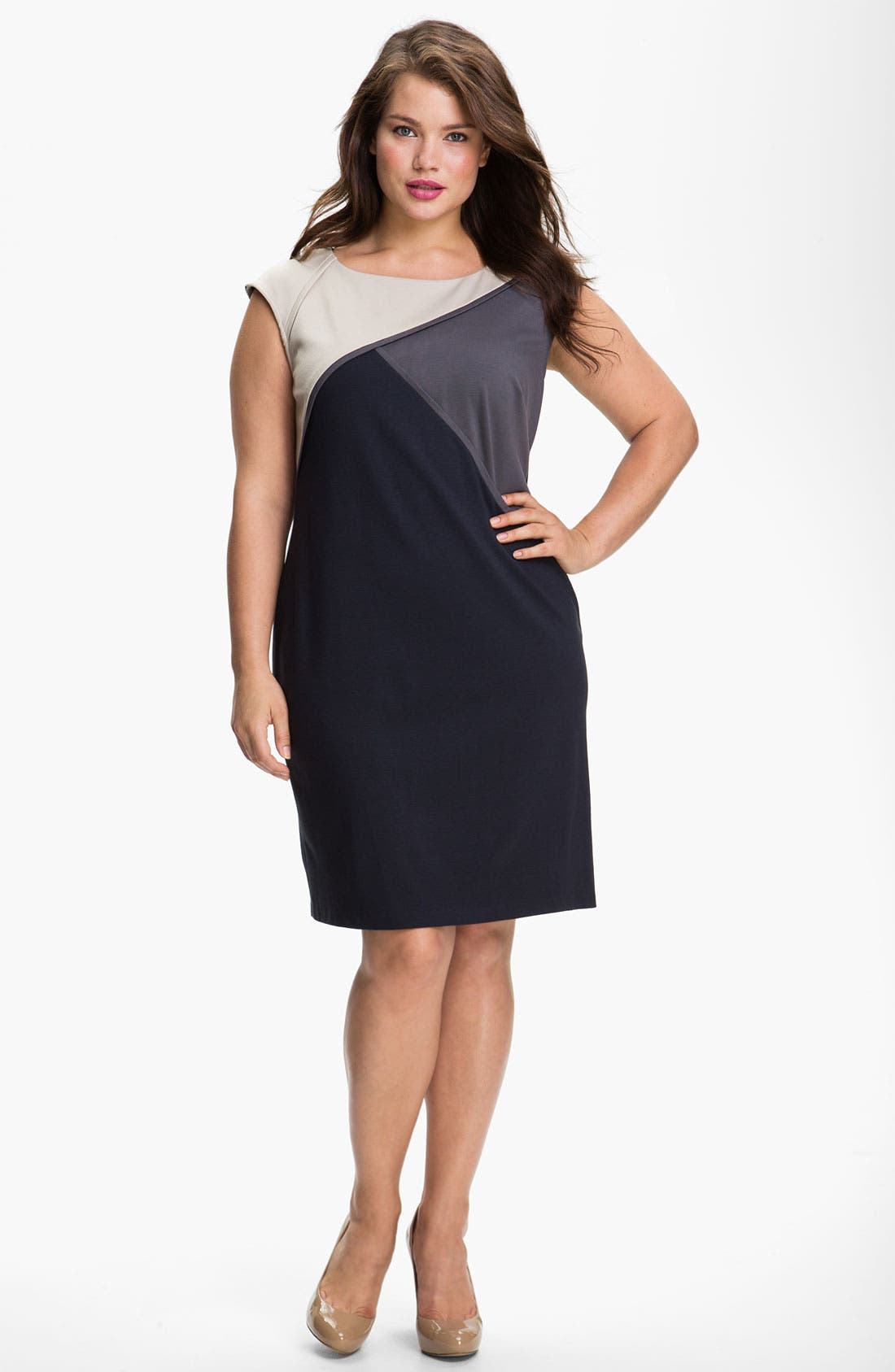 Main Image - Adrianna Papell Colorblock Shift Dress (Plus)