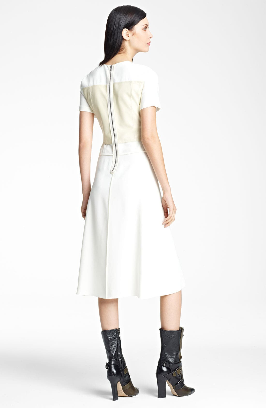 Alternate Image 2  - Reed Krakoff Leather & Stretch Woven Dress