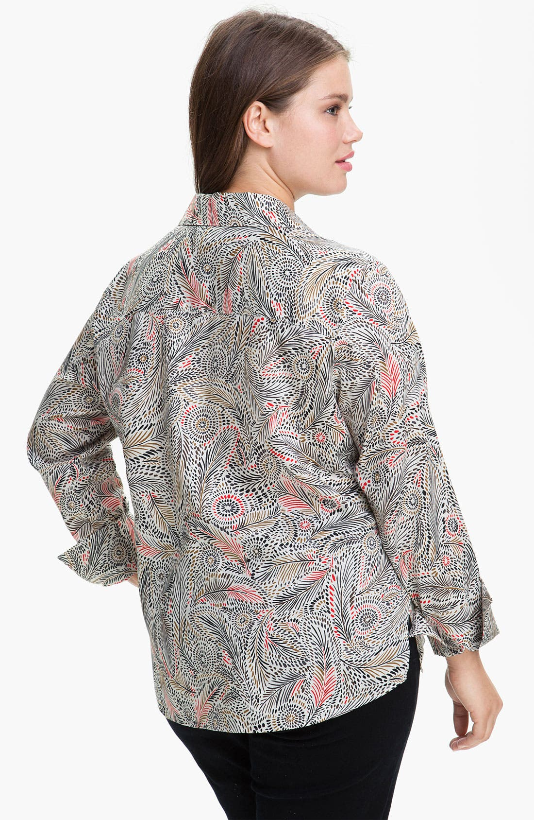 Alternate Image 2  - Foxcroft Feather Print Wrinkle Free Shaped Shirt (Plus)