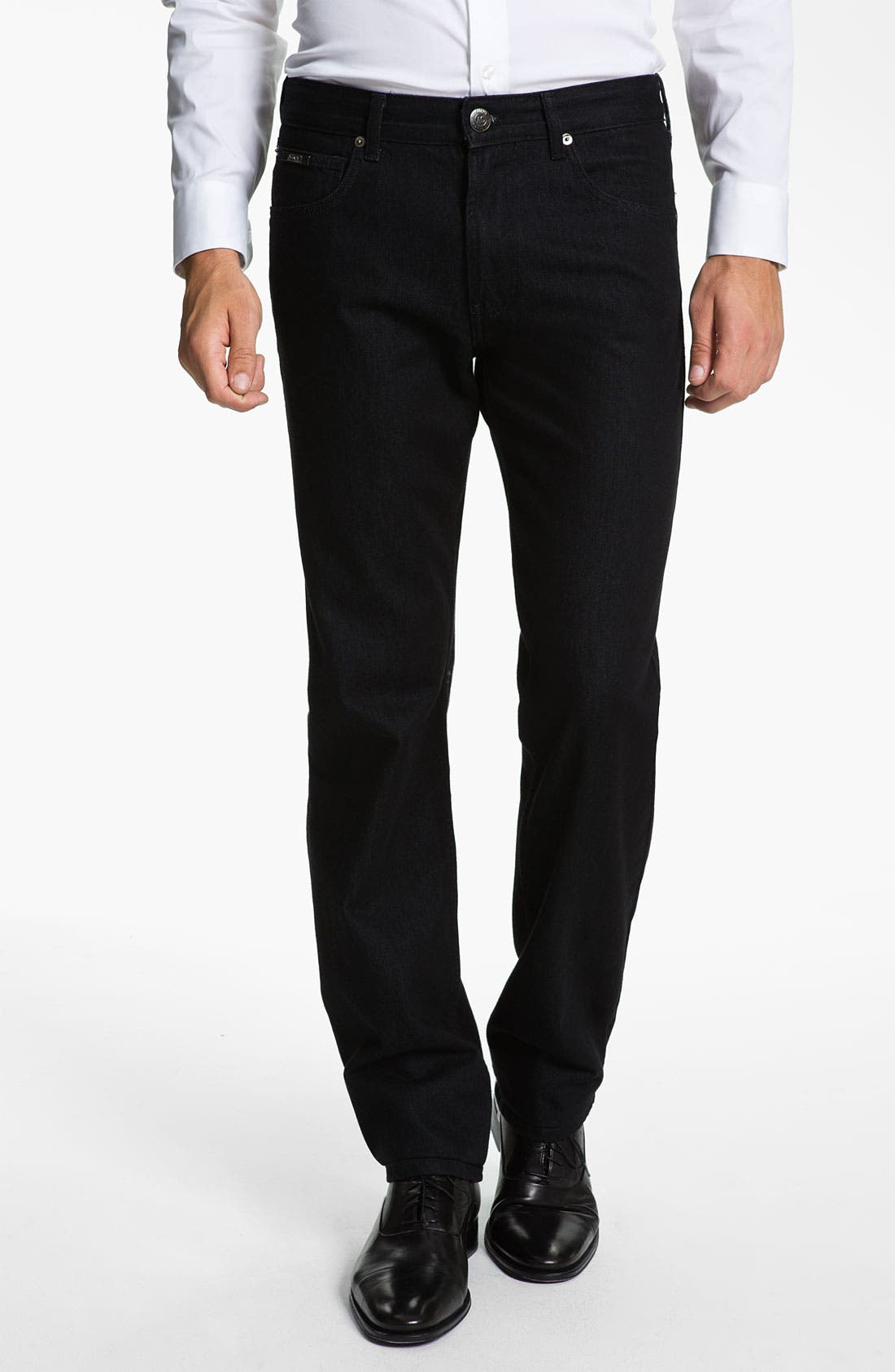 Alternate Image 1 Selected - Armani Collezioni Straight Leg Jeans (Black Wash)