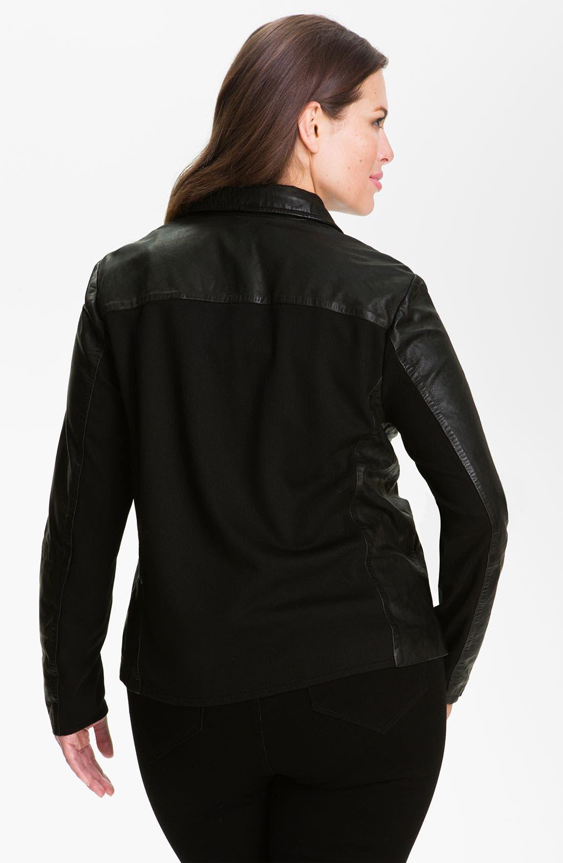 Alternate Image 2  - MICHAEL Michael Kors Leather Blazer (Plus)
