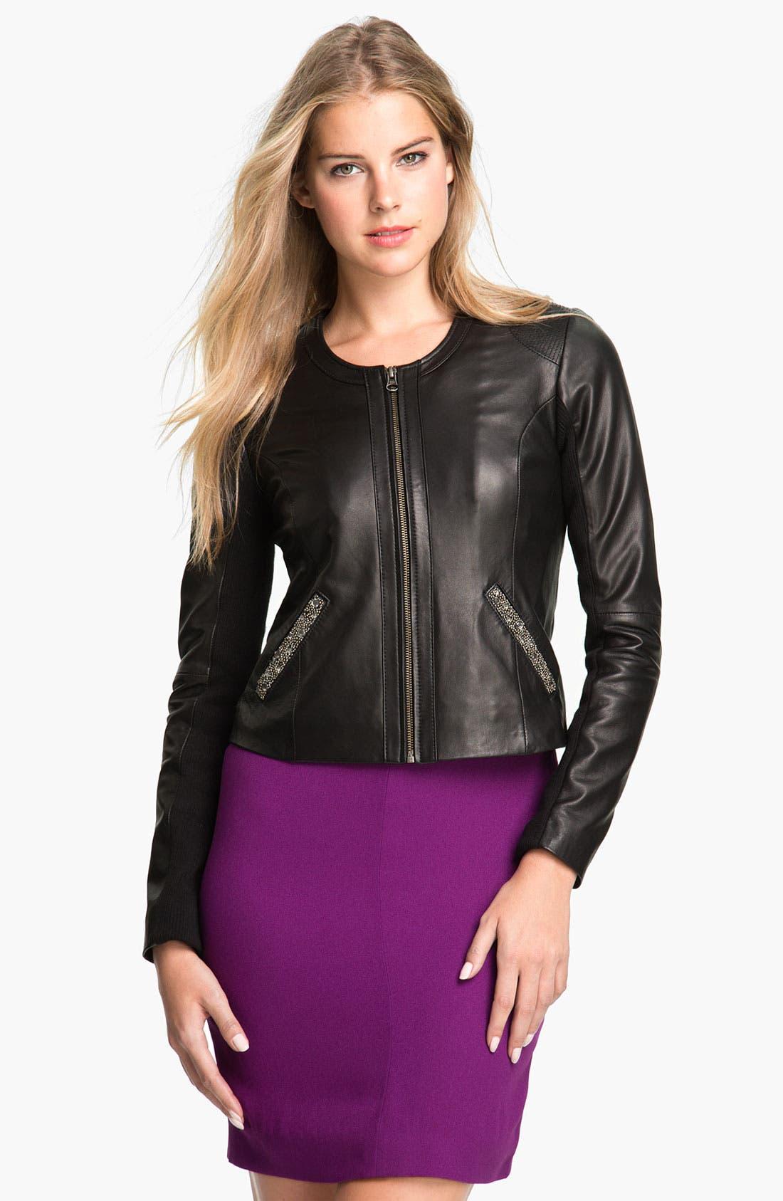 Alternate Image 1 Selected - Badgley Mischka 'Ellie' Beaded Leather Jacket