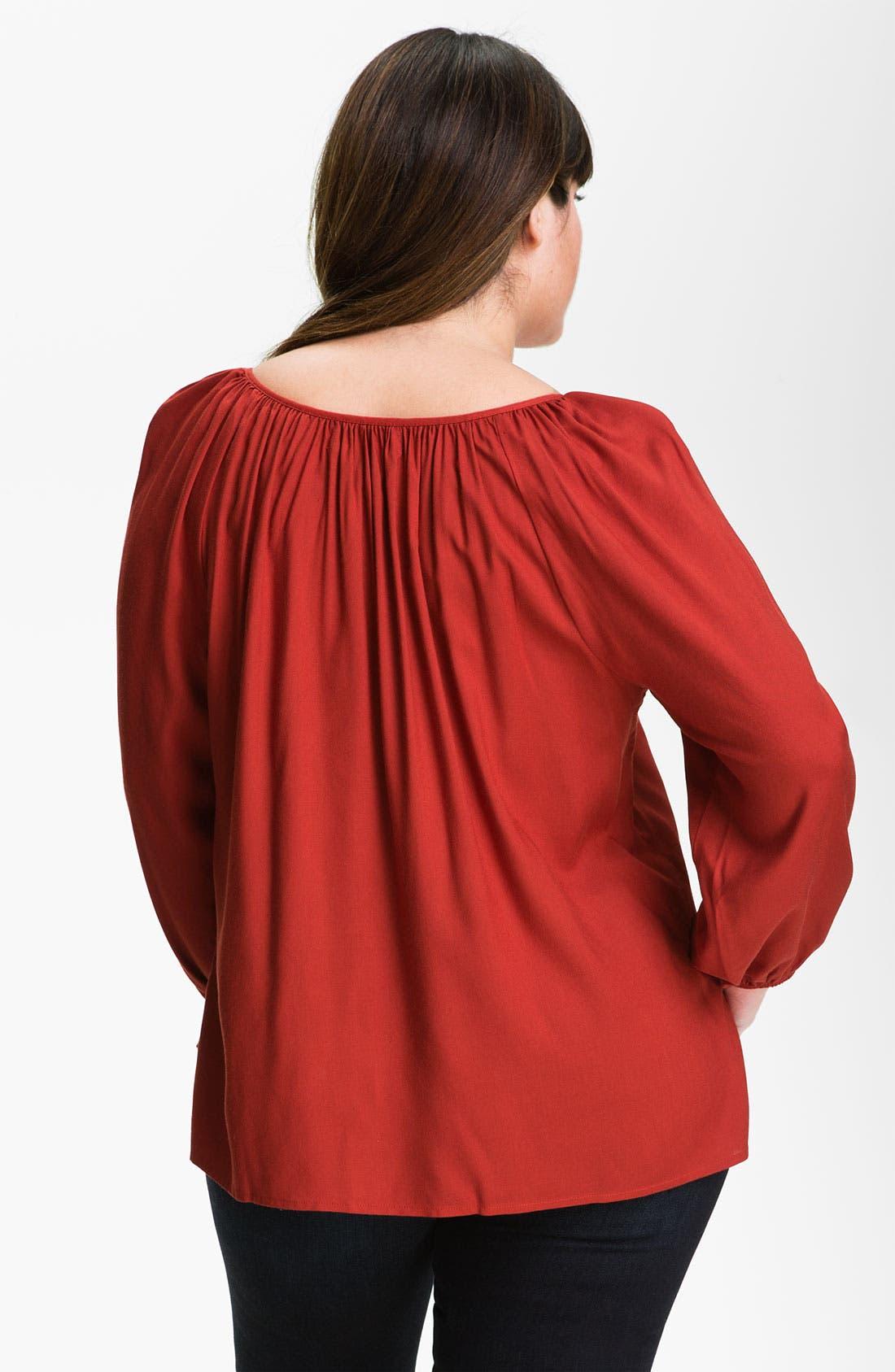 Alternate Image 2  - Karen Kane Embroidered Peasant Top (Plus)