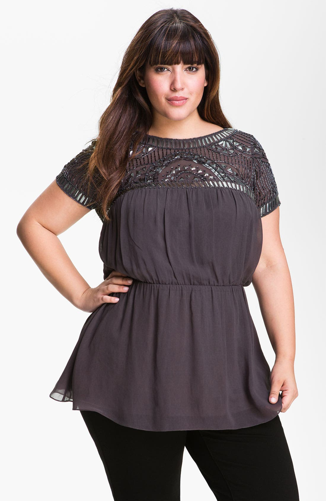 Main Image - JS Collections Retro Beaded Chiffon Top (Plus)