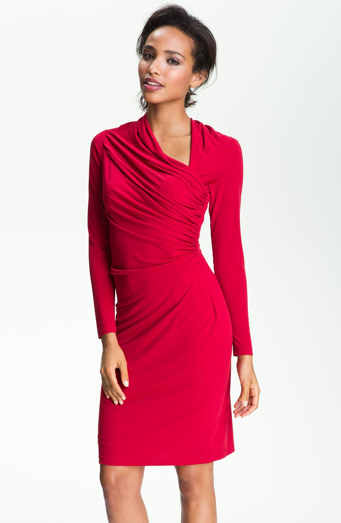 Alternate Image 1 Selected - David Meister Asymmetrical Matte Jersey Sheath Dress