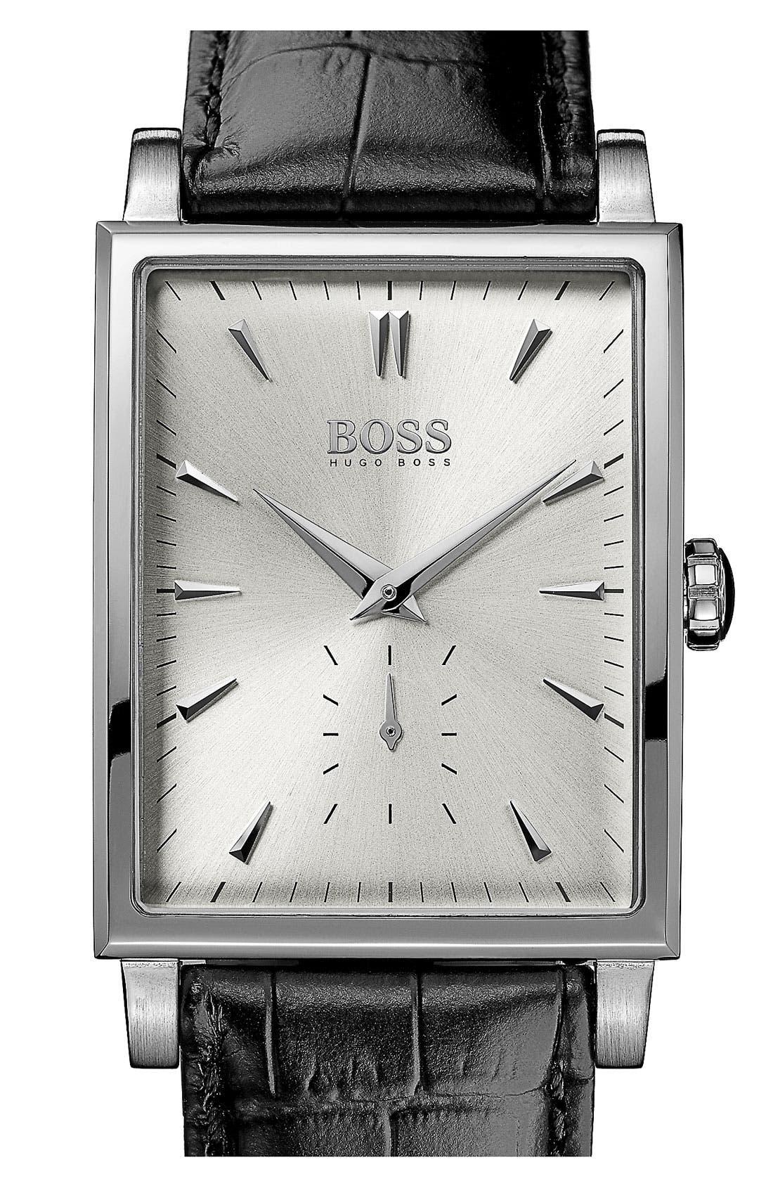 Main Image - BOSS HUGO BOSS Rectangular Leather Strap Watch, 31mm x 39mm