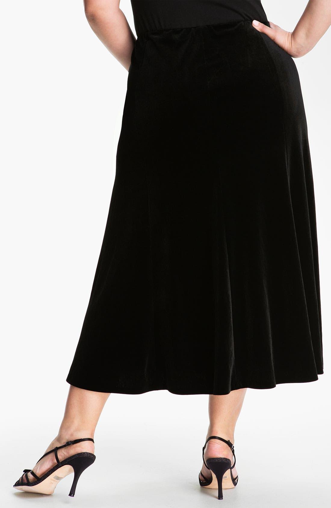 Alternate Image 2  - Alex Evenings Velvet Skirt (Plus)
