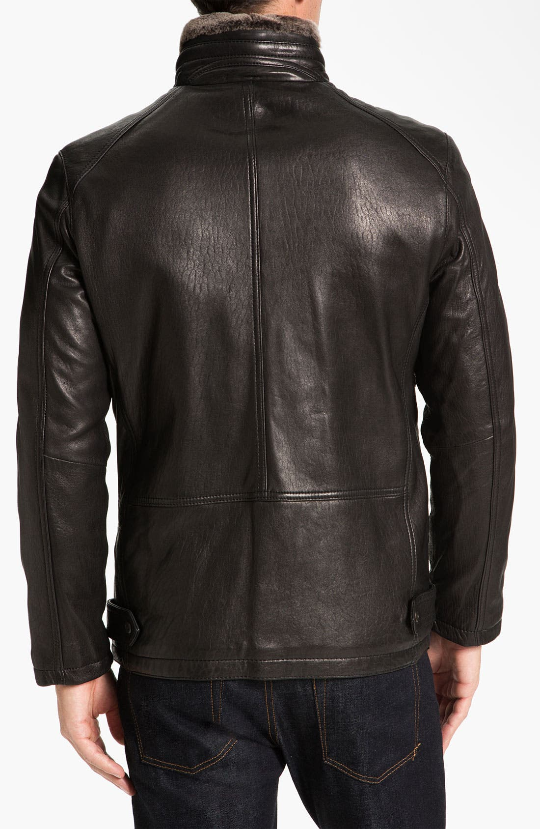 Alternate Image 2  - Marc New York by Andrew Marc 'Noah' Leather Jacket with Genuine Shearling Trim