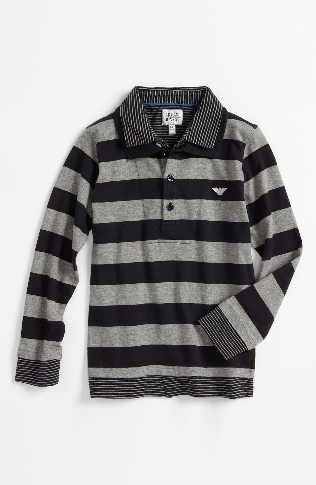 Main Image - Armani Junior Long Sleeve Polo (Little Boys)
